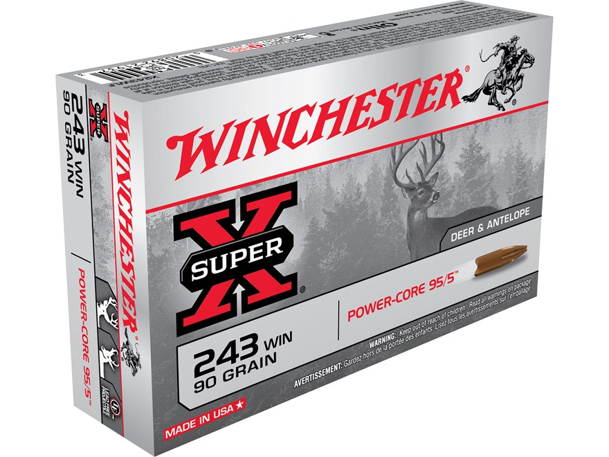 Winchester Super-X Power-Core 95/5 Ammunition 243 Winchester 90 Grain Hollow Point Boat...
