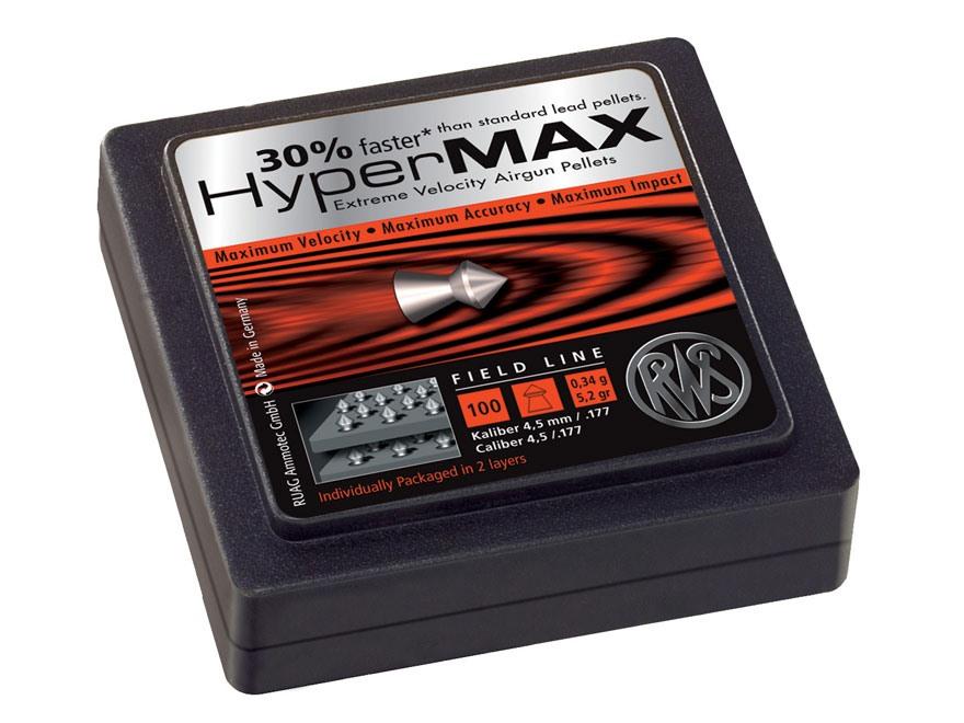 RWS HyperMax Alloy Air Gun Pellets 177 Caliber 5.2 Grain Conical Head Lead-Free Tin of 100