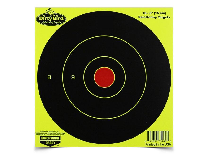 "Birchwood Casey Dirty Bird Yellow 6"" Bullseye Targets Pack of 100"