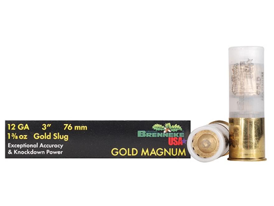 "Brenneke USA Gold Magnum Ammunition 12 Gauge 3"" 1-3/8 oz Lead Slug Box of 5"