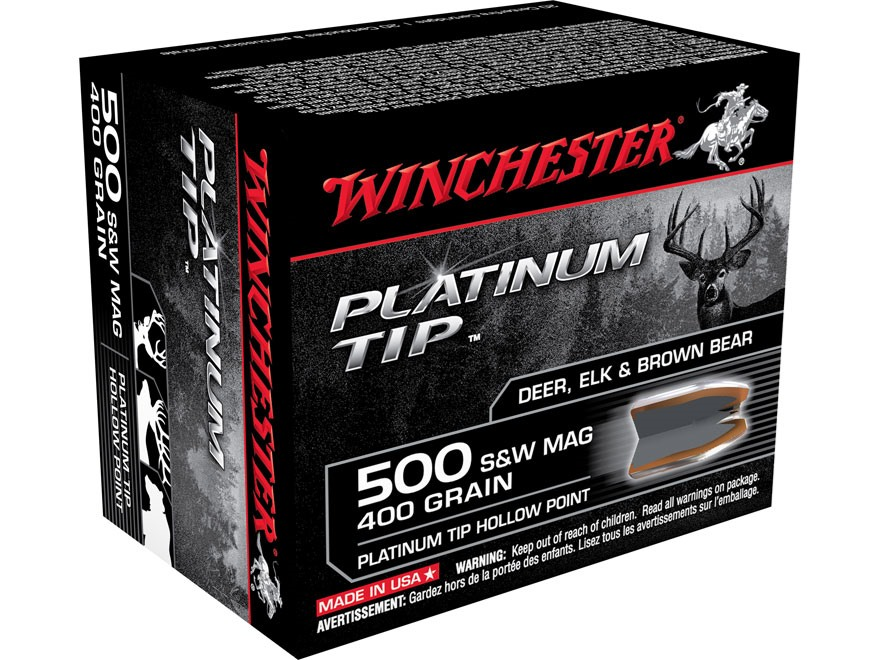 Winchester Ammunition 500 S&W Magnum 400 Grain Platinum Tip Hollow Point