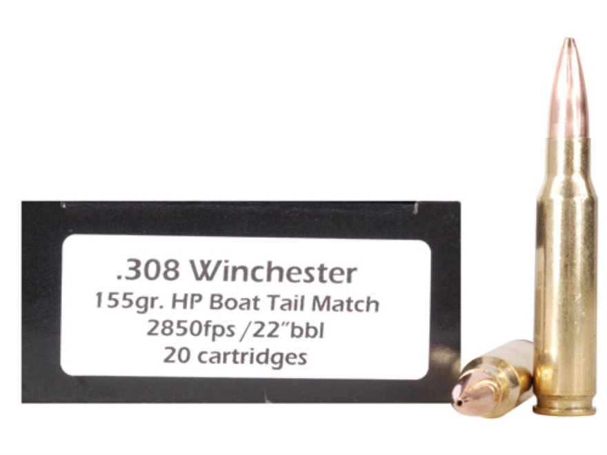 Doubletap Ammunition 308 Winchester 155 Grain Hollow Point Boat Tail Match Box of 20