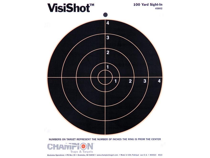 "Champion VisiShot 8"" Bullseye Targets 8.5"" x 11"" Paper Pack of 10"