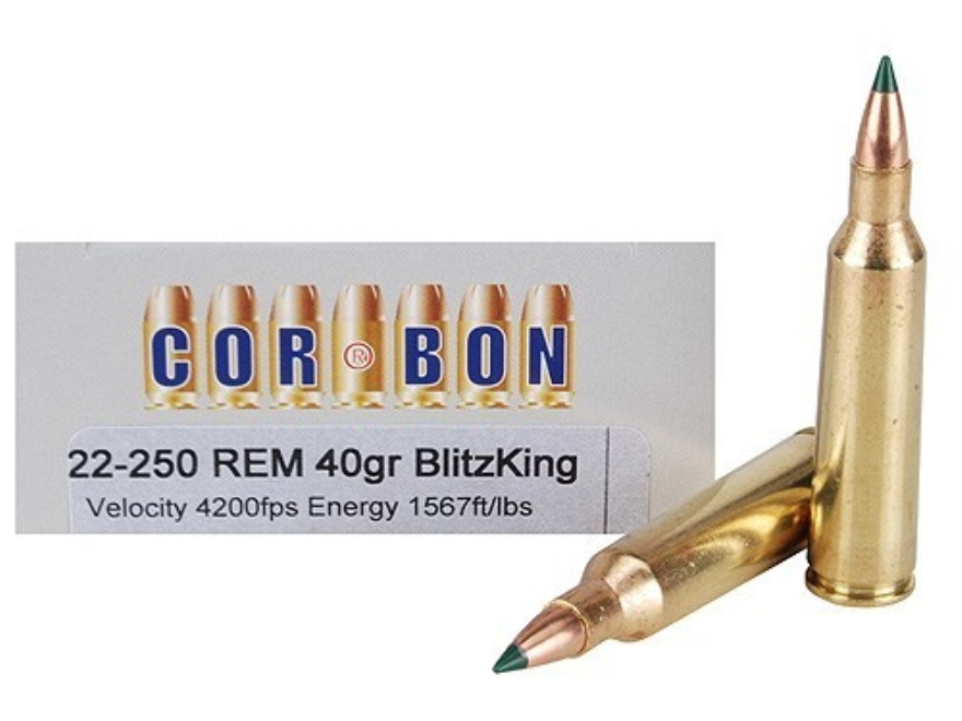 Cor-Bon Self-Defense Ammunition 22-250 Remington 40 Grain Sierra BlitzKing Polymer Tip ...