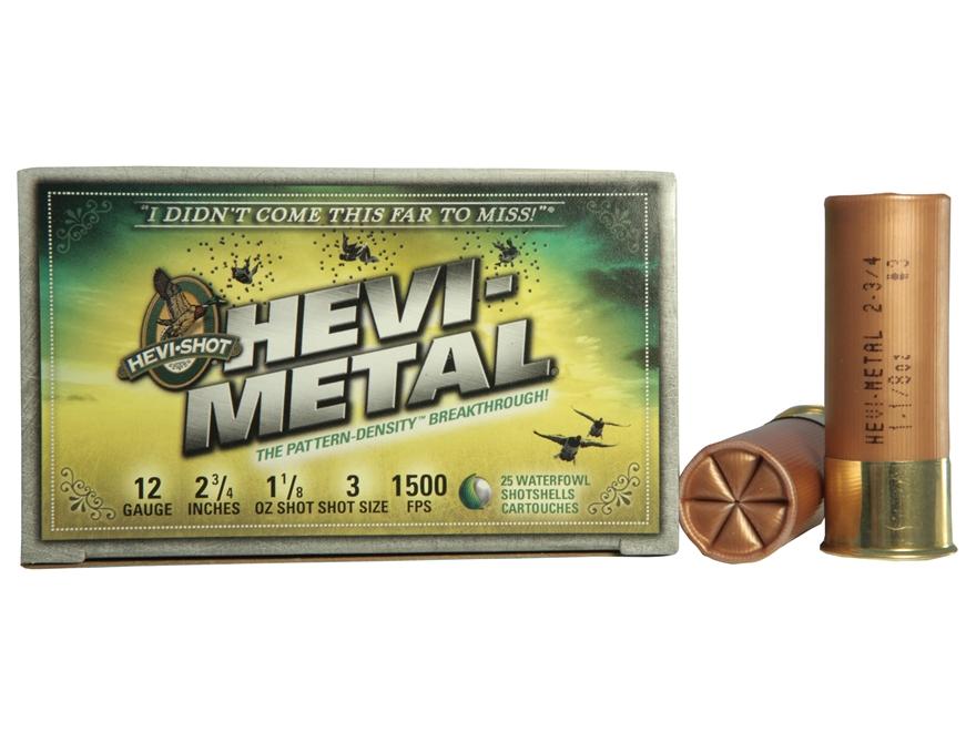 "Hevi-Shot Hevi-Metal Waterfowl Ammunition 12 Gauge 2-3/4"" 1-1/8 oz #3 Non-Toxic"