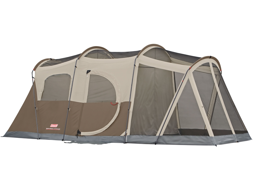 "Coleman Weathermaster 6  Man Screened Dome Tent 204"" x 108"" x 80"" Polyester Brown, Tan ..."