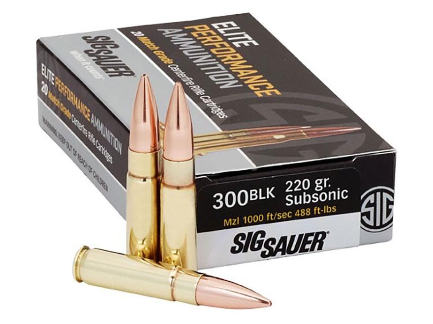 Sig Sauer Elite Performance Match Grade Ammunition 300 AAC Blackout Subsonic 220 Grain ...