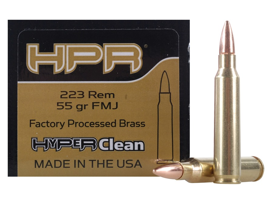HPR HyperClean Remanufactured Ammunition 223 Remington 55 Grain Full Metal Jacket Box o...