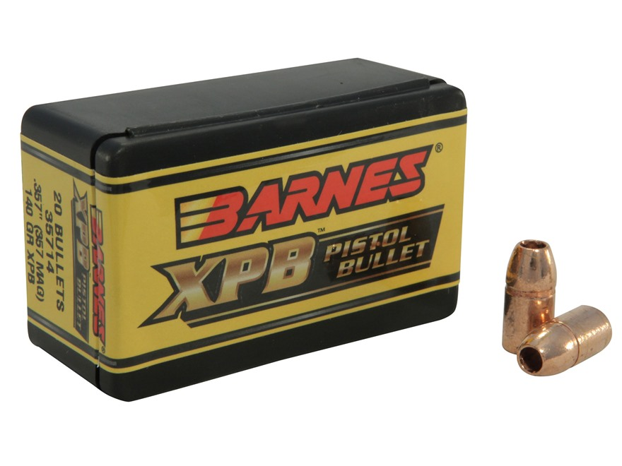 Barnes XPB Handgun Bullets 357 Magnum (357 Diameter) 140 Grain Solid Copper Hollow Poin...