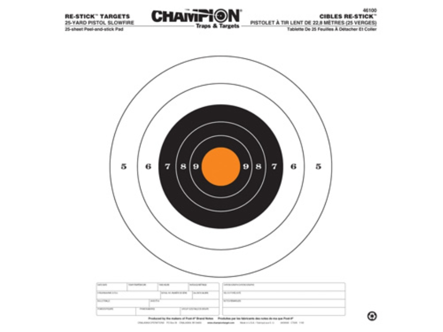 "Champion Re-Stick 25 Yard Pistol Slowfire Self-Adhesive Targets 14.5"" x 14.5"" Paper Pac..."