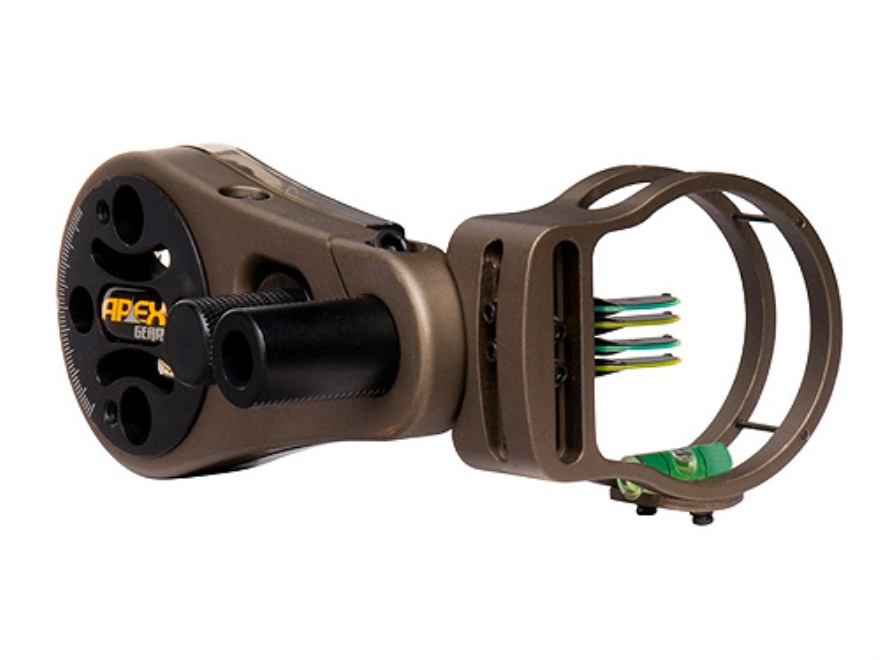 "Apex Gear AG Atomic 4 Light 4-Pin Bow Sight .029"" Diameter Pin Ambidextrous Aluminum Brown"