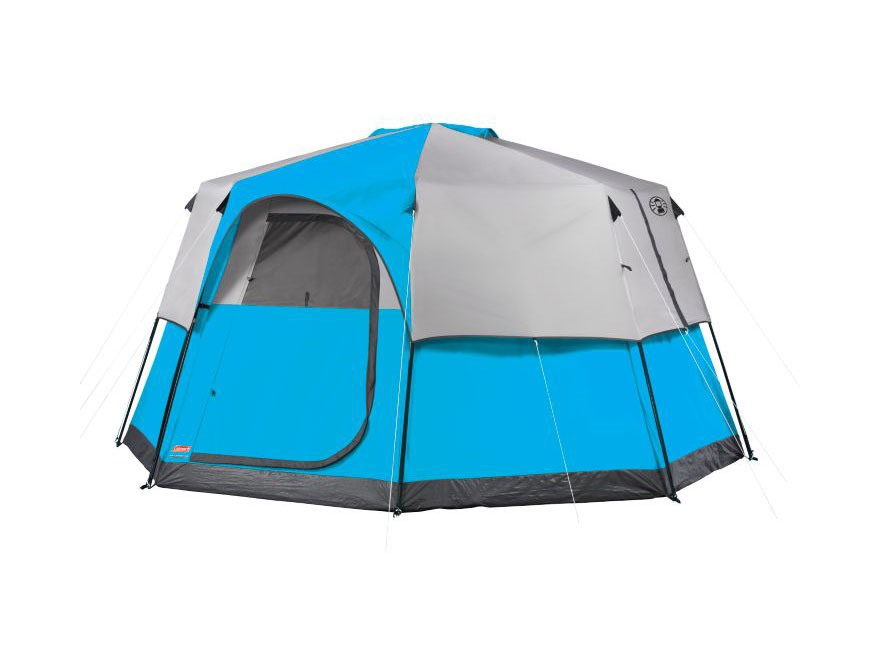 Coleman Big and Tall 8 Person Octagon Tent Polyester Blue and Silver