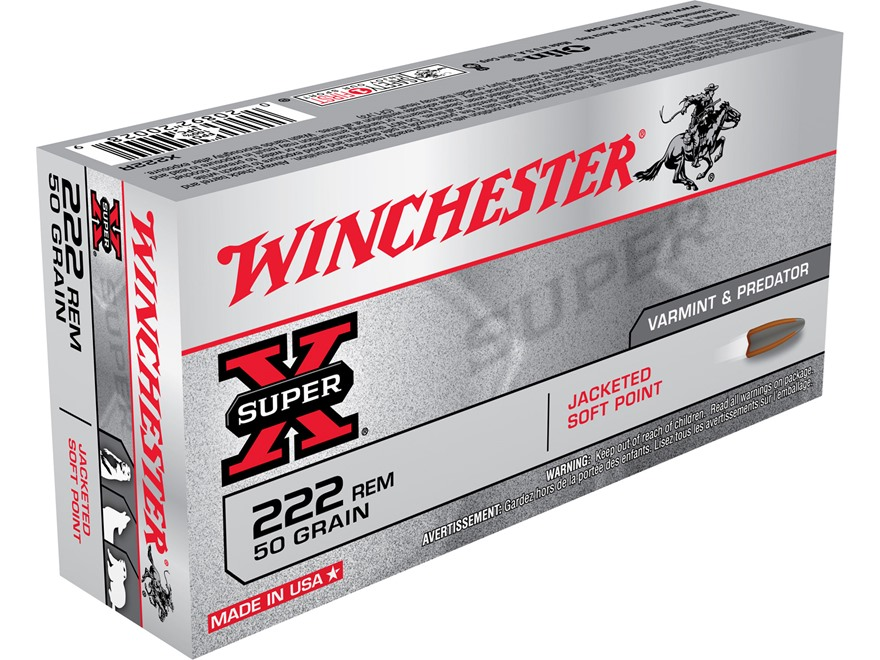 Winchester Super-X Ammunition 222 Remington 50 Grain Pointed Soft Point