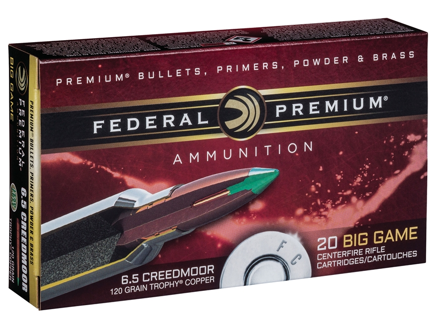Federal Premium Vital-Shok Ammunition 6.5 Creedmoor 120 Grain Trophy Copper Tipped Boat...