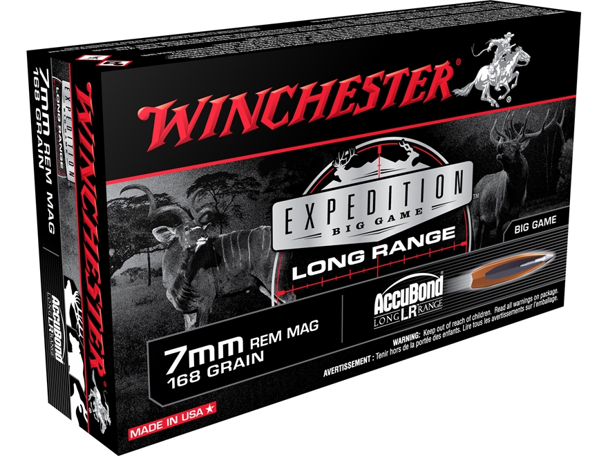 Winchester Expedition Big Game Long Range Ammunition 7mm Remington Magnum 168 Grain Nos...
