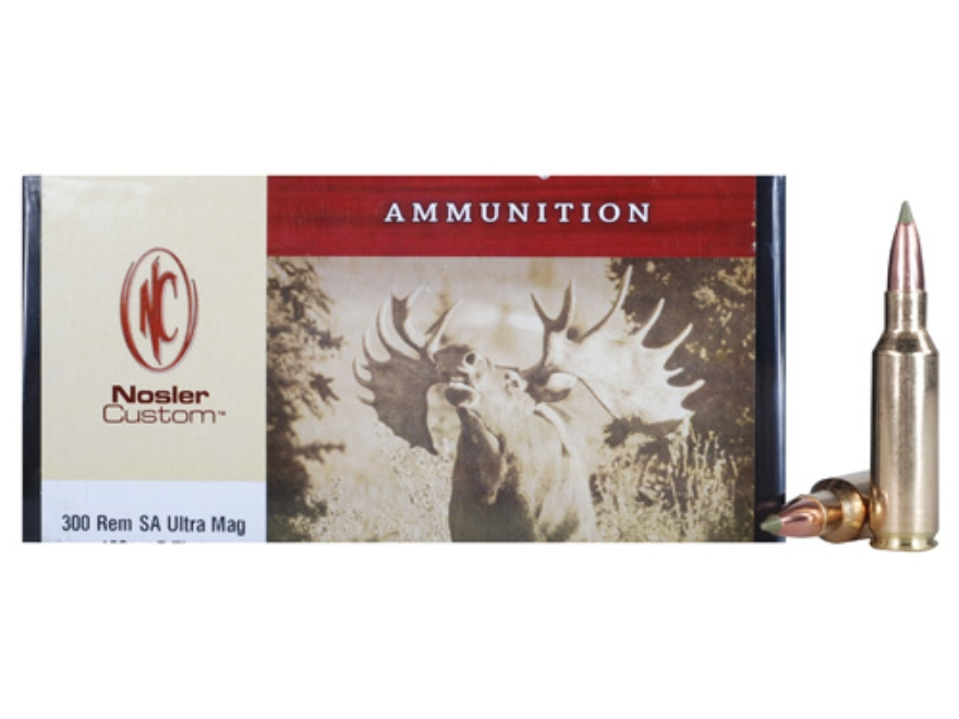 Nosler Custom Ammunition 300 Remington Short Action Ultra Magnum 180 Grain E-Tip Lead-F...