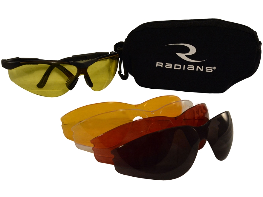 Raidans T-85 Shooting Glasses Kit Black Frame Clear Smoke Amber Orange and Copper Lenses