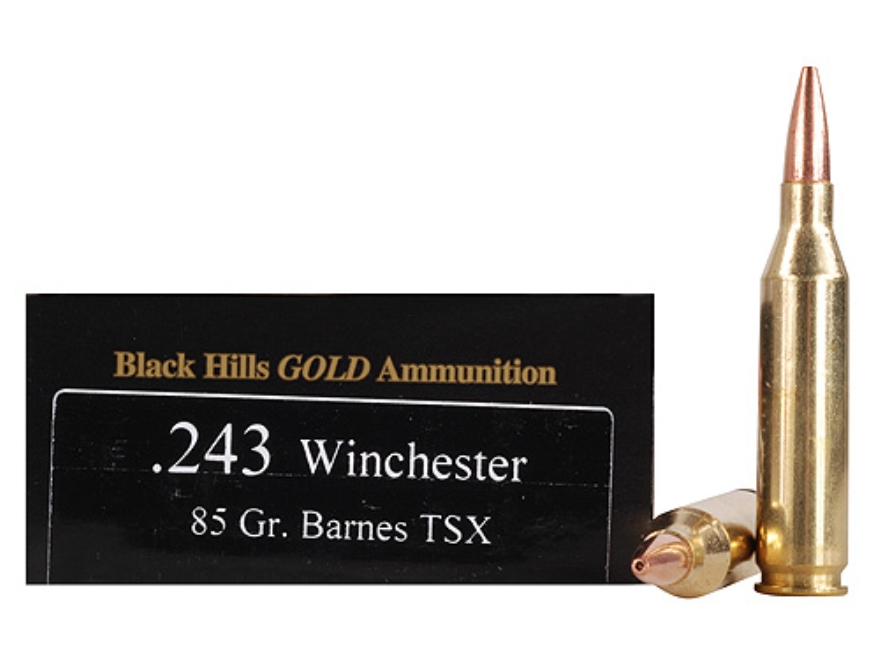 Black Hills Gold Ammunition 243 Winchester 85 Grain Barnes Triple-Shock X Bullet Hollow...