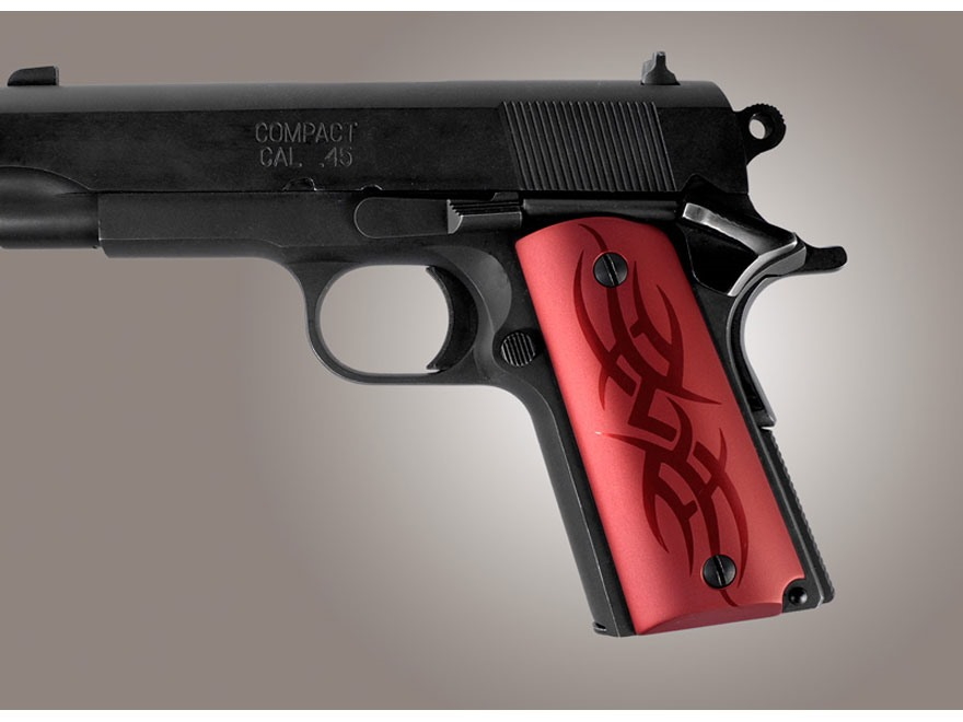 Hogue Extreme Series Grip 1911 Officer Tribal Aluminum Red