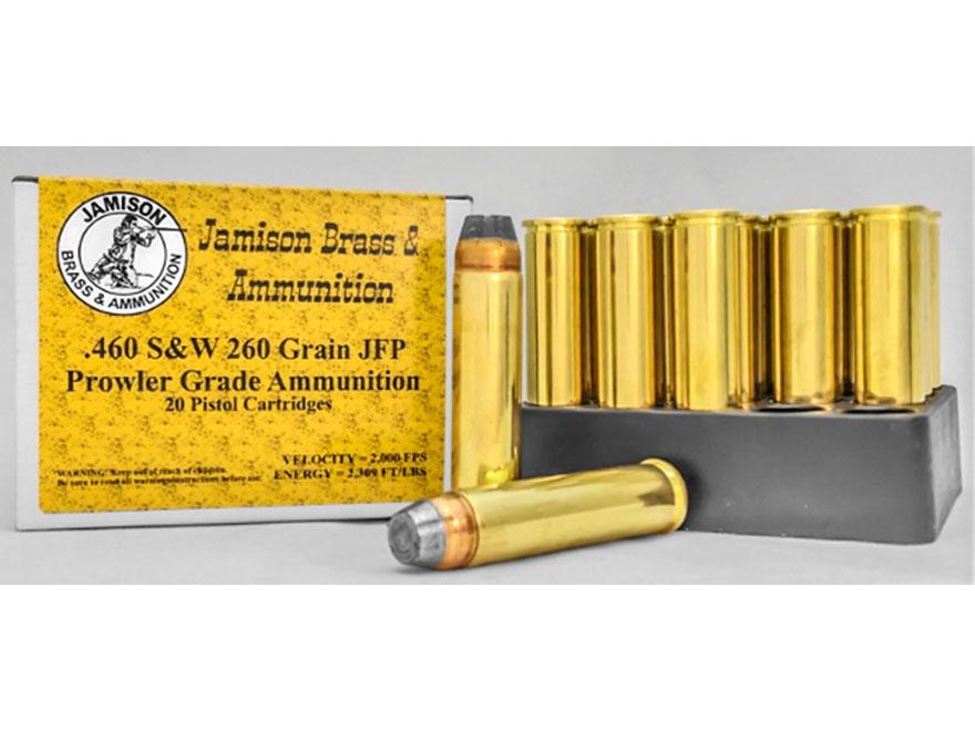 Jamison Ammunition 460 S&W Magnum 260 Grain Jacketed Flat Nose Box of 20