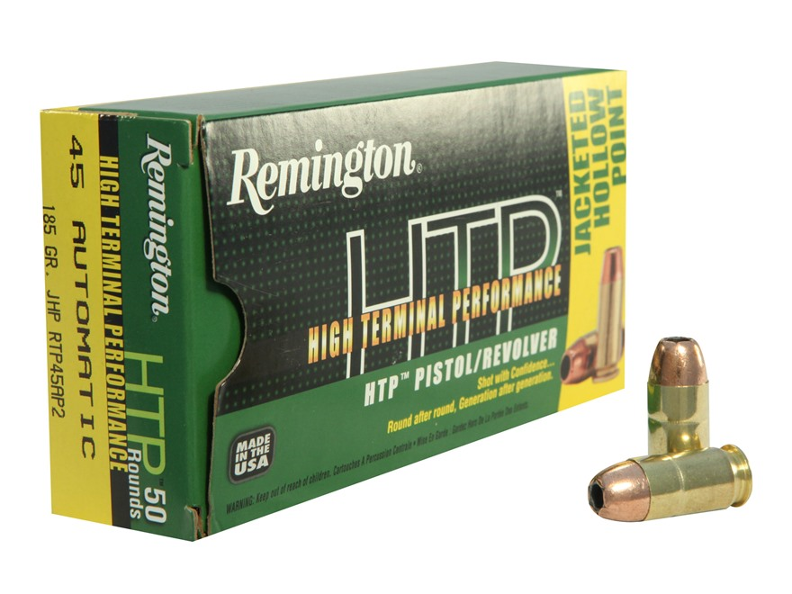 Remington High Terminal Performance Ammunition 45 ACP 185 Grain Jacketed Hollow Point B...
