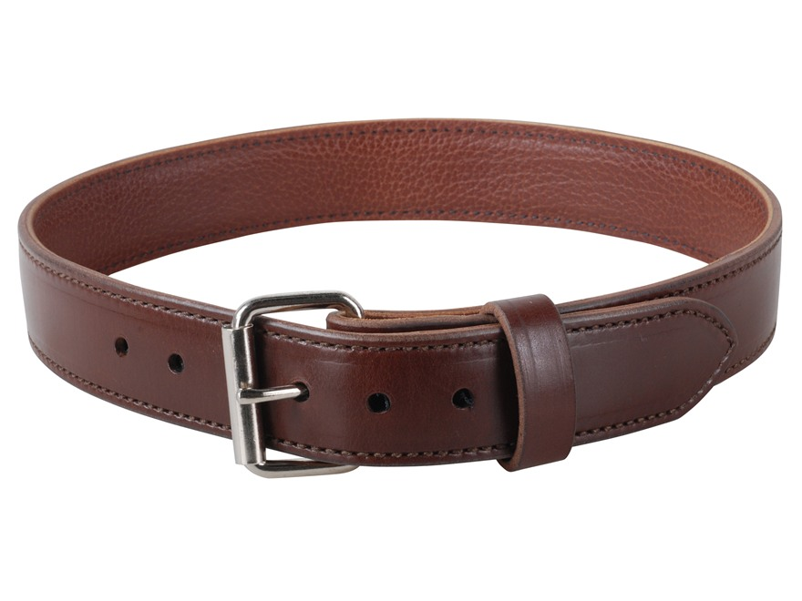 "Lenwood Leather 1400 Belt 1-3/4"" Steel Buckle Leather Brown 42"""