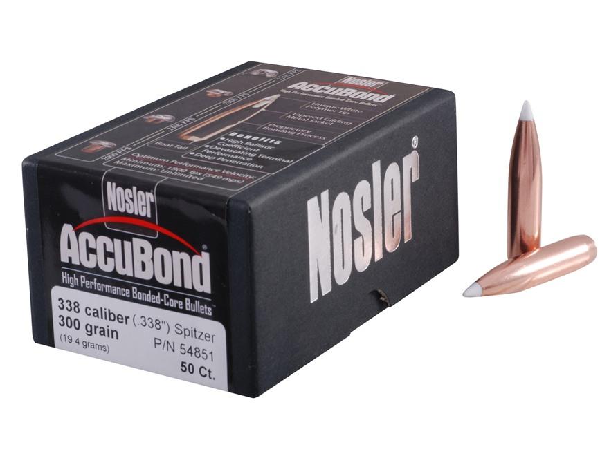 Nosler AccuBond Bullets 338 Caliber (338 Diameter) 300 Grain Bonded Spitzer Boat Tail B...