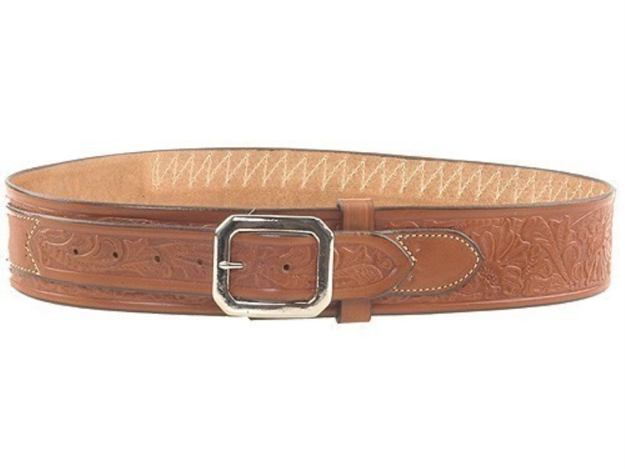 "Hunter Cartridge Belt ""Cowboy"" Style 45 Caliber Tooled Leather Brown"