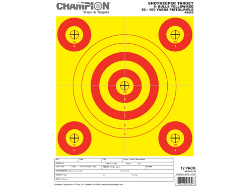 "Champion ShotKeeper 5 Small Bullseye Targets 8.5"" x 11"" Paper Yellow/Red Bull Package o..."