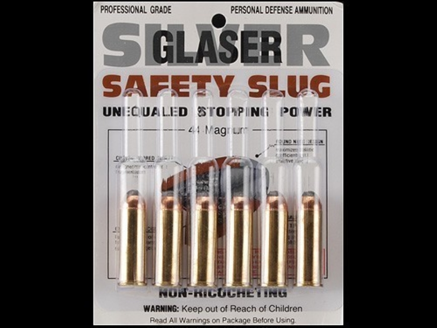 Glaser Silver Safety Slug Ammunition 44 Remington Magnum 135 Grain Safety Slug Package ...