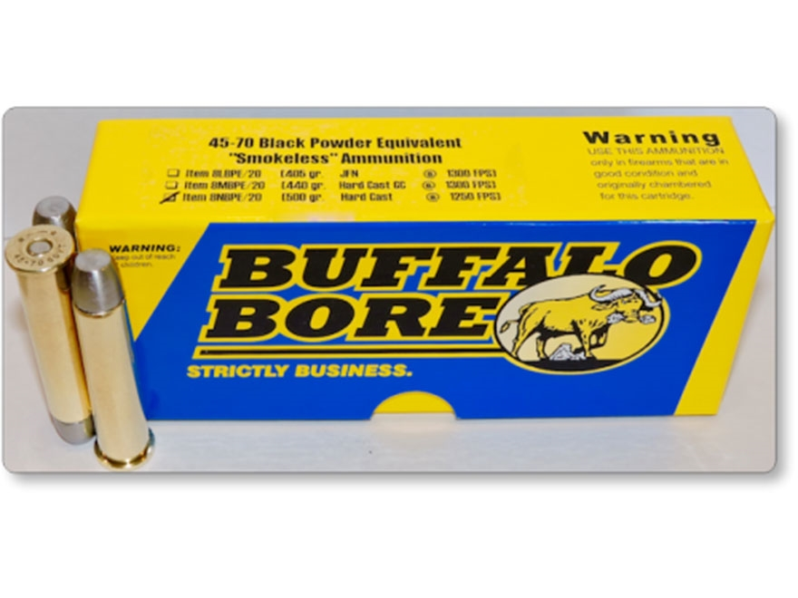 Buffalo Bore Smokeless Blackpowder Equivalent Ammunition 45-70 Government 500 Grain Har...