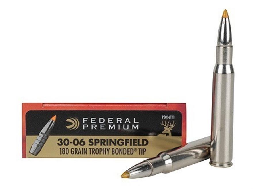 Federal Premium Vital-Shok Ammunition 30-06 Springfield 180 Grain Trophy Bonded Tip