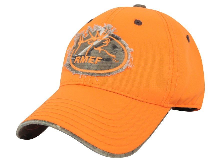 Rocky Mountain Elk Foundation Logo Cap Cotton Blaze Orange and Realtree Xtra Camo