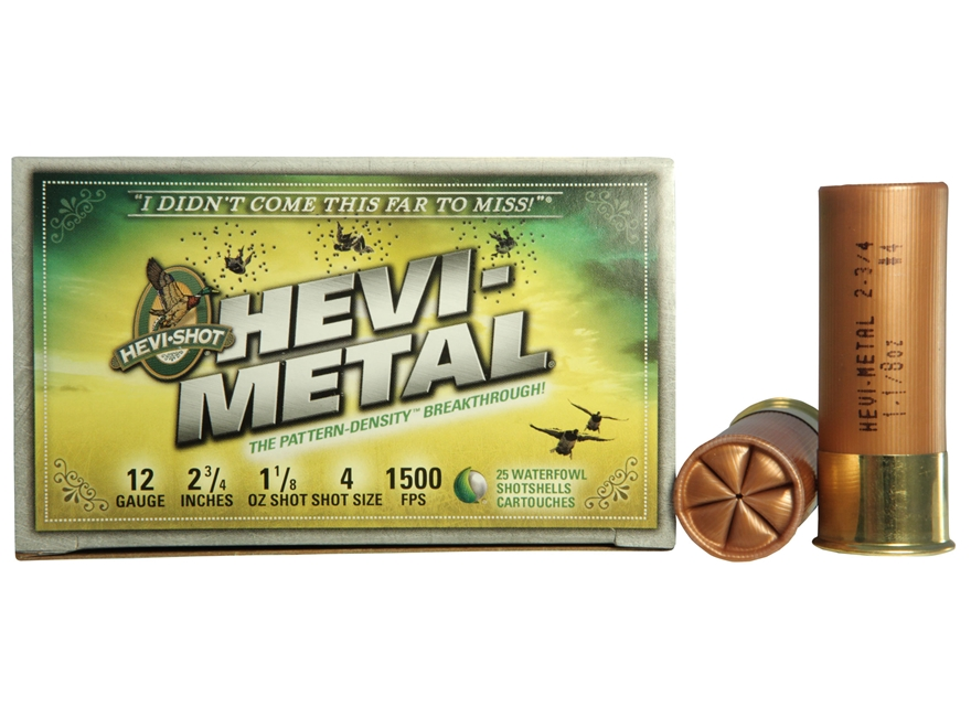 "Hevi-Shot Hevi-Metal Waterfowl Ammunition 12 Gauge 2-3/4"" 1-1/8 oz #4 Non-Toxic"