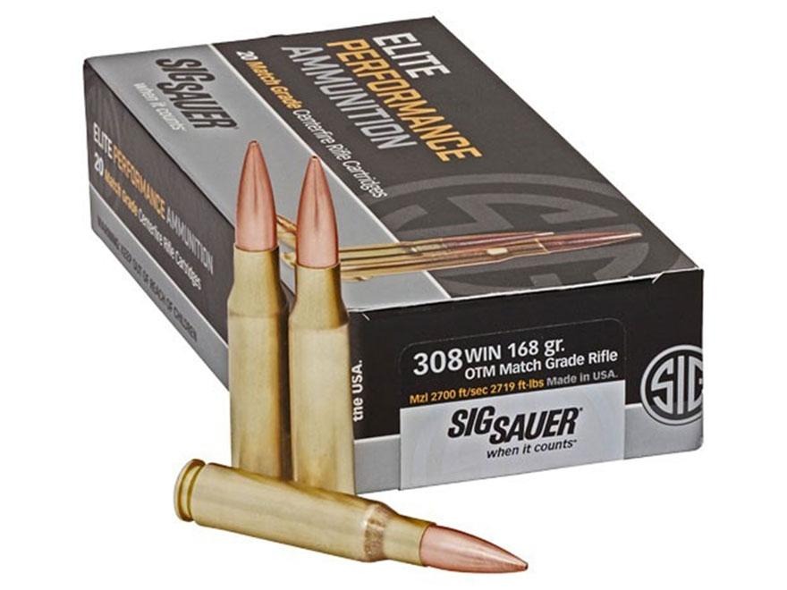 Sig Sauer Elite Performance Match Grade Ammunition 308 Winchester 168 Grain Open Tip Ma...