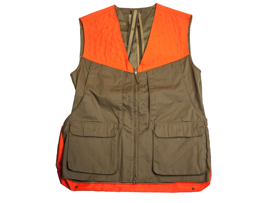 Beretta Men's Thorn-Proof Upland Vest Brushed Cotton and Polyester Tan and Blaze Orange