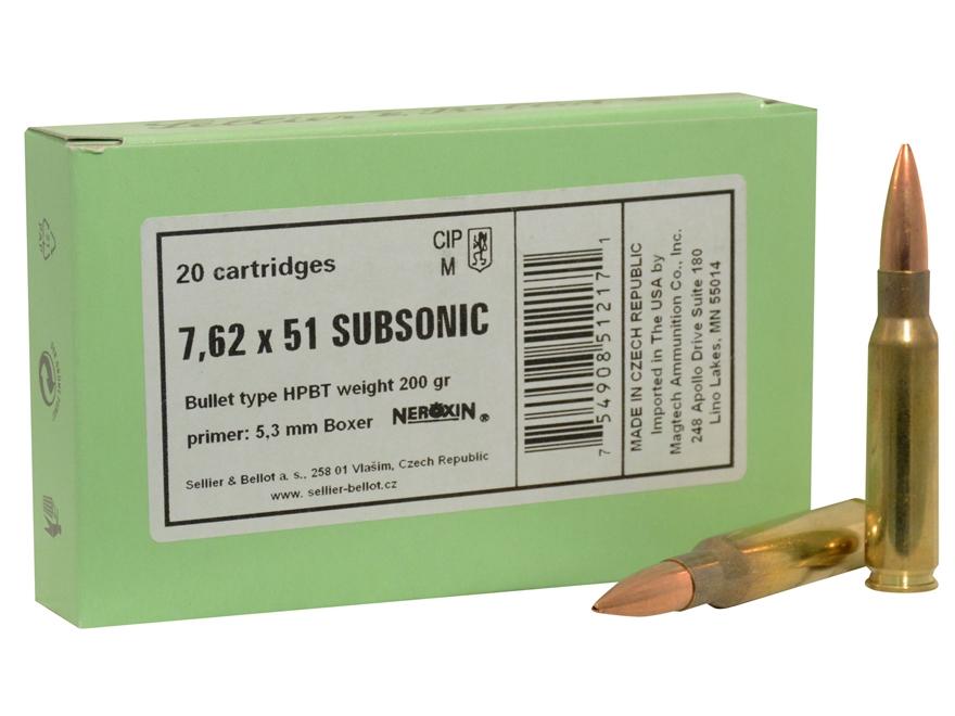 Sellier & Bellot Ammunition 308 Winchester Subsonic 200 Grain Sierra Matchking Hollow P...