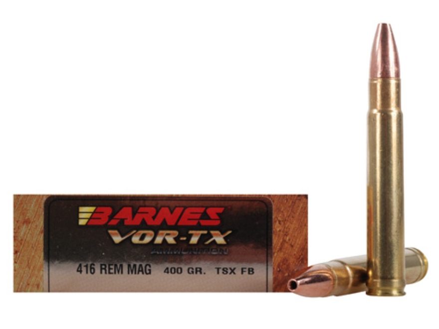 Barnes VOR-TX Safari Ammunition 416 Remington Magnum 400 Grain Triple-Shock X Bullet Fl...