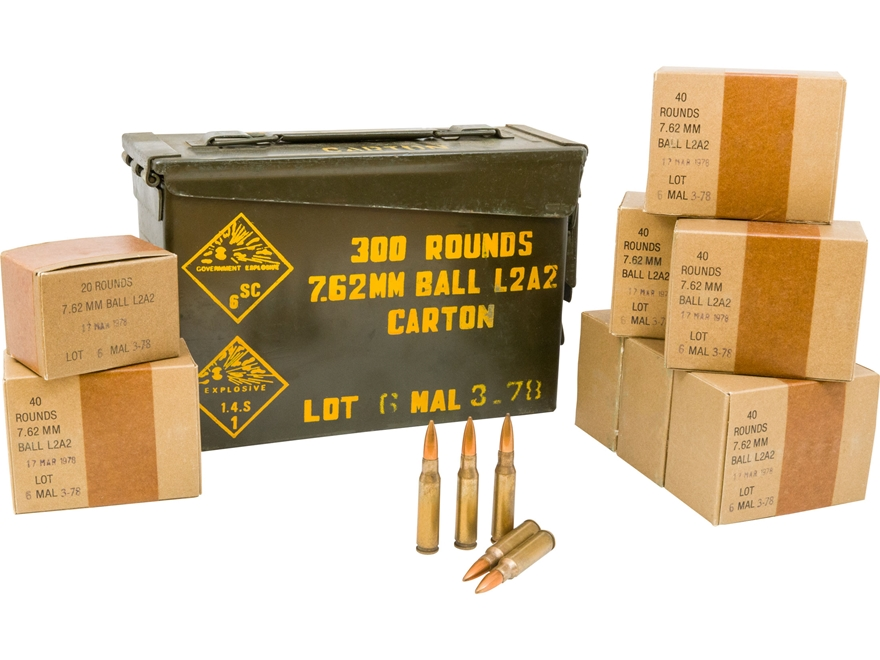 Military Surplus Ammunition 7.62x51mm 146 Grain Full Metal Jacket Berdan Primed Ammo Ca...