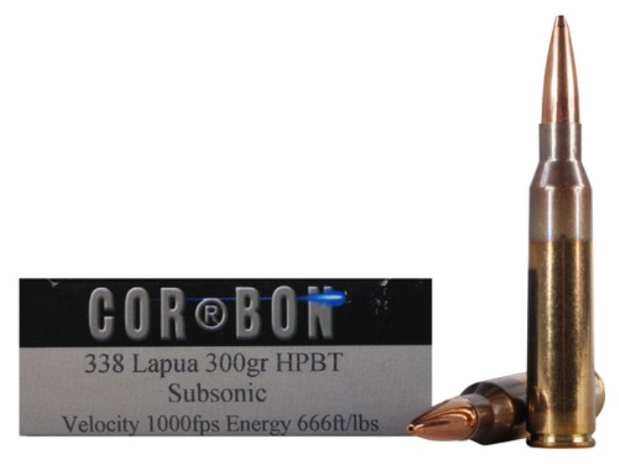 Cor-Bon Performance Match Ammunition 338 Lapua Magnum Subsonic 300 Grain Hollow Point B...