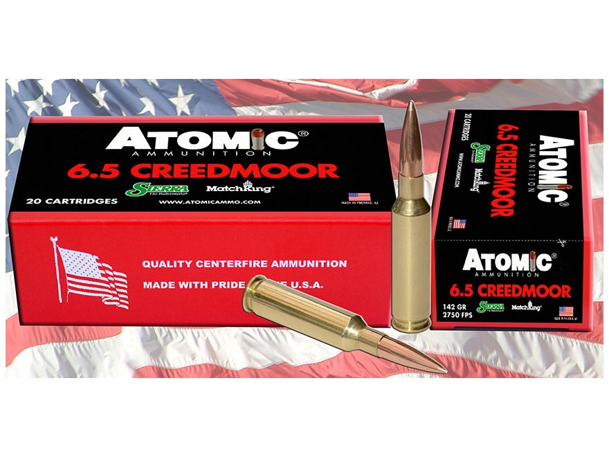 Atomic Ammunition 6.5 Creedmoor 142 Grain Sierra Match King Hollow Point Boat Tail Box ...