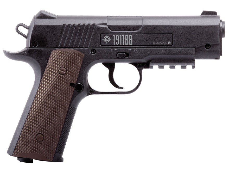 Crosman 1911 BB CO2 Air Pistol 177 Caliber BB Black with Brown Polymer Grips