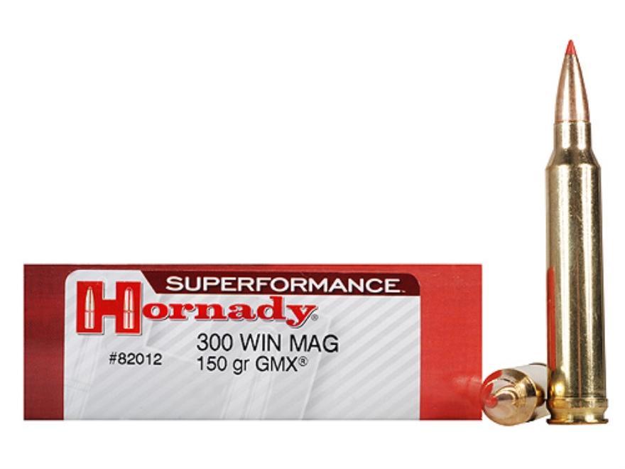Hornady Superformance GMX Ammunition 300 Winchester Magnum 150 Grain GMX Boat Tail Lead...