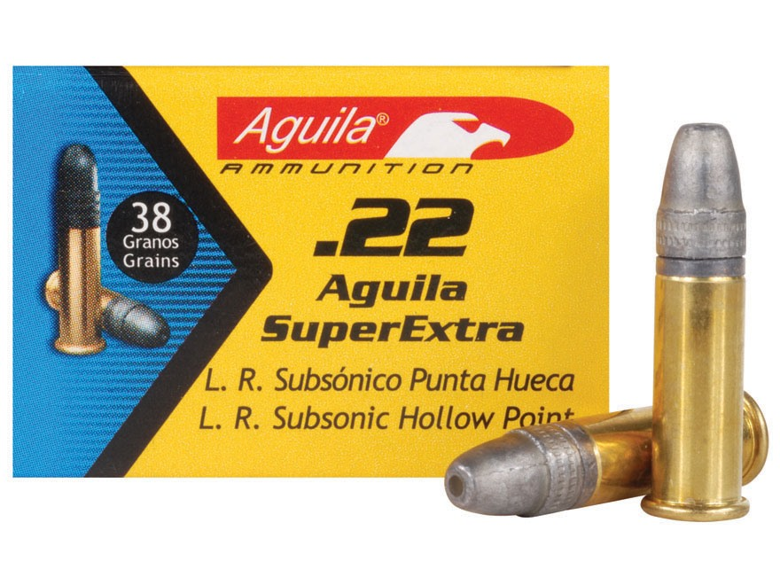 Aguila SuperExtra Ammunition 22 Long Rifle Subsonic 38 Grain Lead Hollow Point