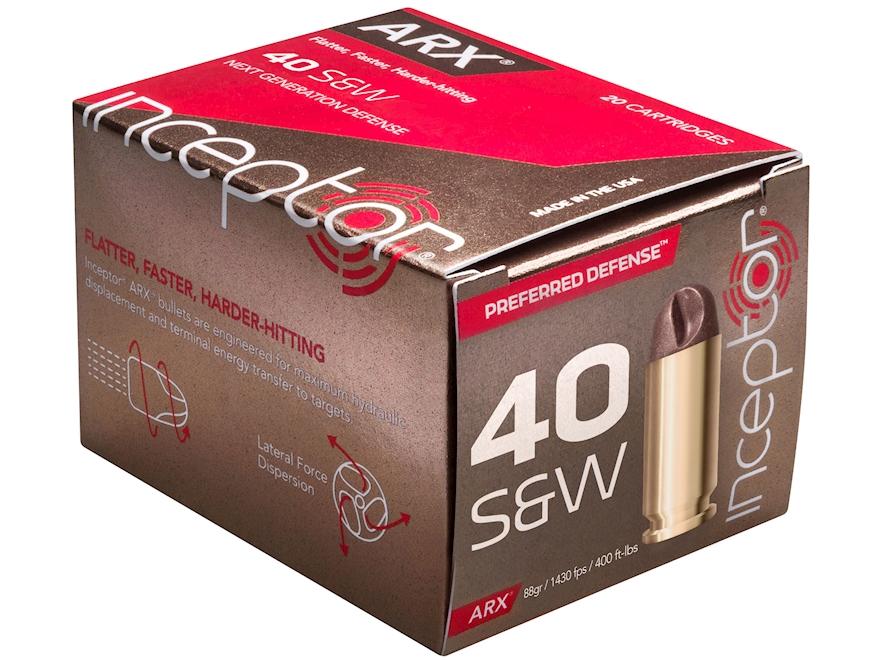 Polycase Inceptor Preferred Defense Ammunition 40 S&W 88 Grain Frangible ARX Lead-Free