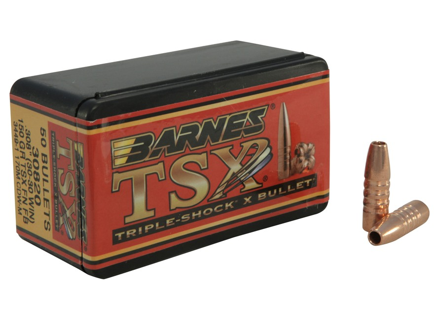 Barnes Triple-Shock X (TSX) Bullets 30-30 Caliber (308 Diameter) 150 Grain Flat Nose Le...