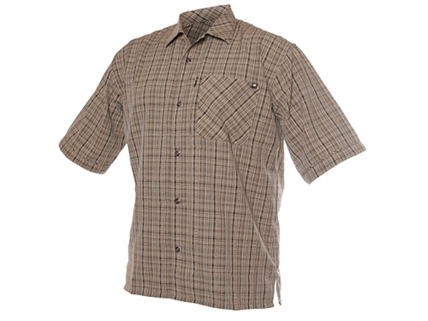 BLACKHAWK! 1700 Textured Weave Plaid Shirt Short Sleeve Synthetic Blend Green Plaid Med...