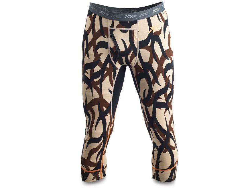 First Lite Men's Glenbrook 3/4 Base Layer Pants Aerowool Blend ASAT Camo Large