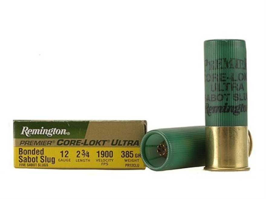"Remington Premier Ammunition 12 Gauge 2-3/4"" 385 Grain Core-Lokt Ultra Bonded Sabot Slu..."