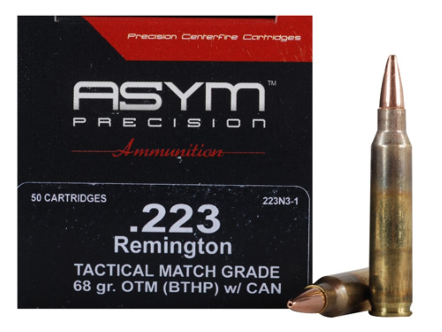 ASYM Precision Tactical Match Ammunition 223 Remington 68 Grain Open-Tip Match (OTM) wi...
